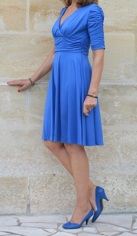 Meaneor Rouched Half-sleeve Party Dress