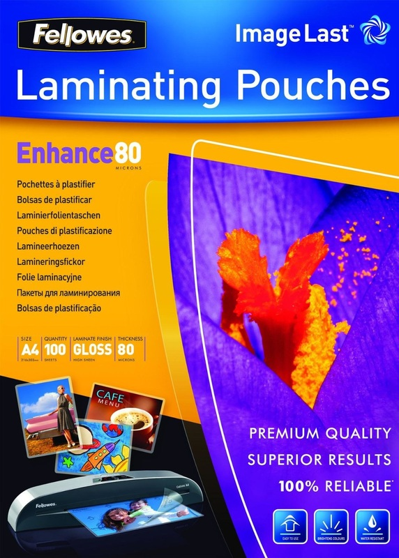 Fellowes Laminating Pouches Enhance 80 microns