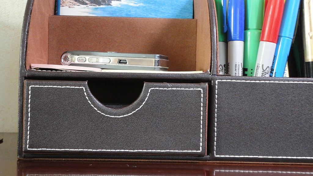 Levin PU Leather 7-Slot Desk Organizer